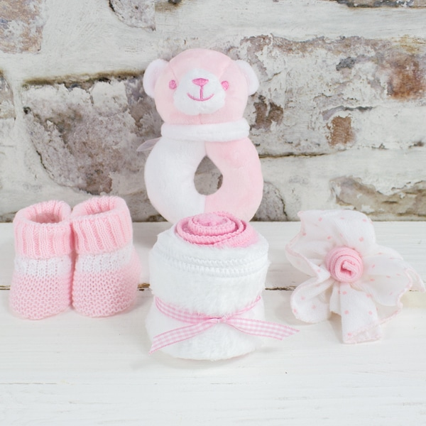Personalised Baby Girl Gift Hamper Accessories
