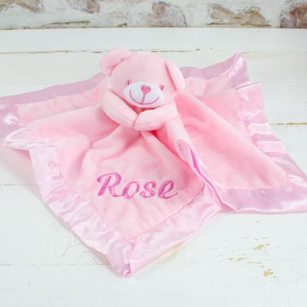 Personalised Baby Girl Teddy Bear Comforter