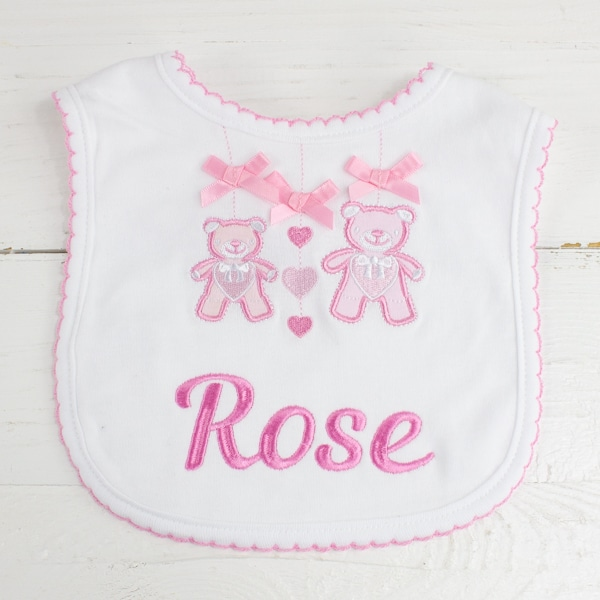 Personalised Baby Girl Teddy Bear Bib