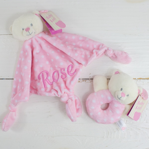 Personalised teddy bear comforter & rattle