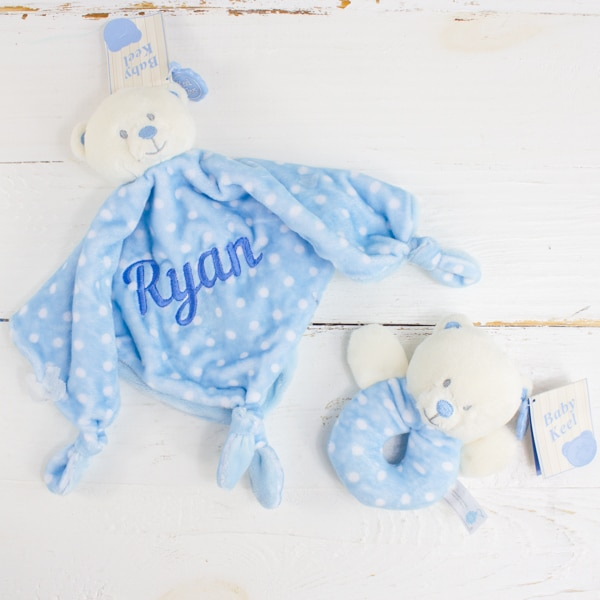 Personalised Blue Teddy Bear Comforter & Rattle
