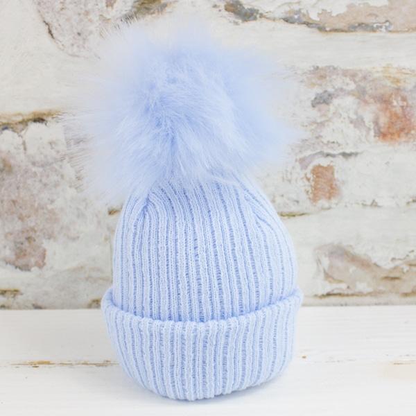 Blue Baby Boy Pom Hat