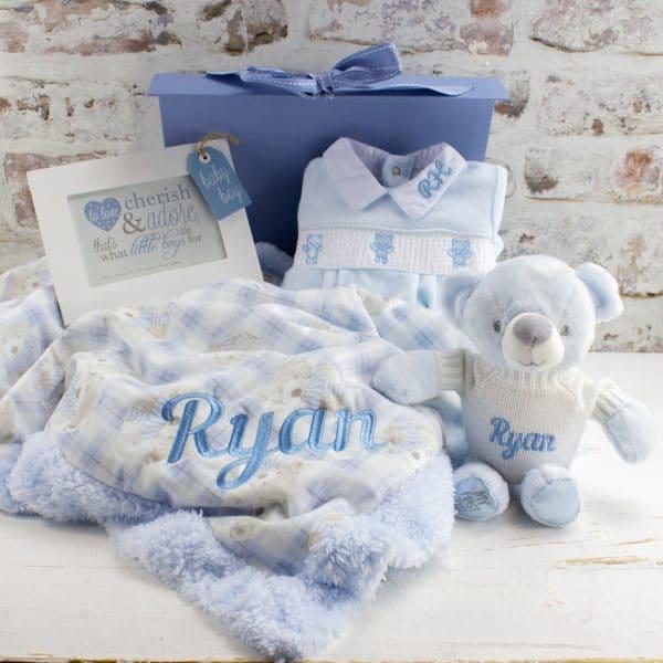 Personalised Blue Teddy Bear Gift Box