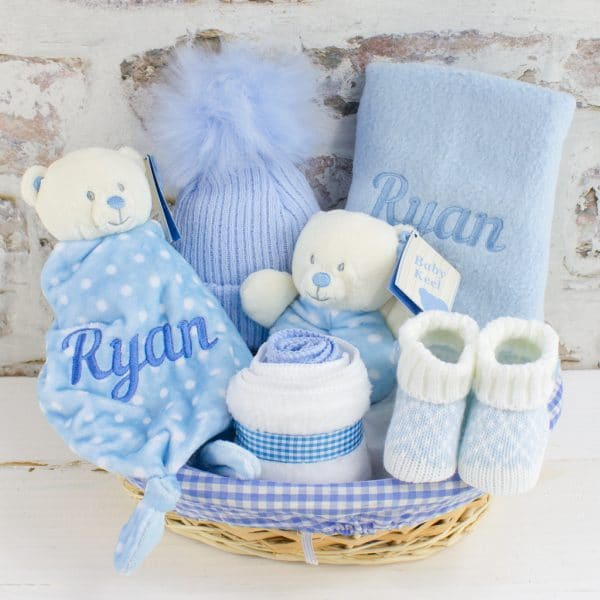Personalised Baby Boy Teddy bear Gift Basket