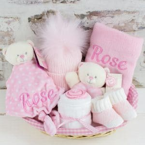 Personalised Baby Girl Teddy Bear Gift Set