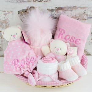 Personalised Baby Girl Teddy Bear Gift Set