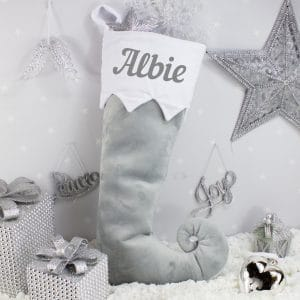 Personalised Grey Baby Christmas Stocking