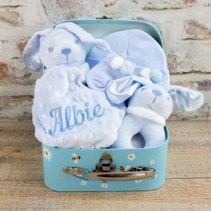 Personalised Blue Baby Boy Boy Bunny Gift hamper