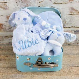 Personalised Blue Baby Boy Boy Bunny Gift hamper