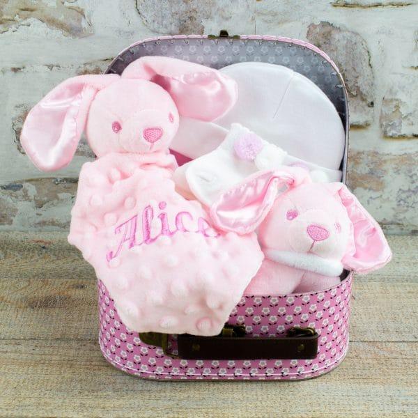 Personalised Pink Bunny Rabbit Baby Giftr Hamper