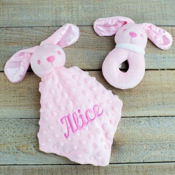 Personalised Pink Bunny Rabbit Gift Hamper - Comforter & Rattle