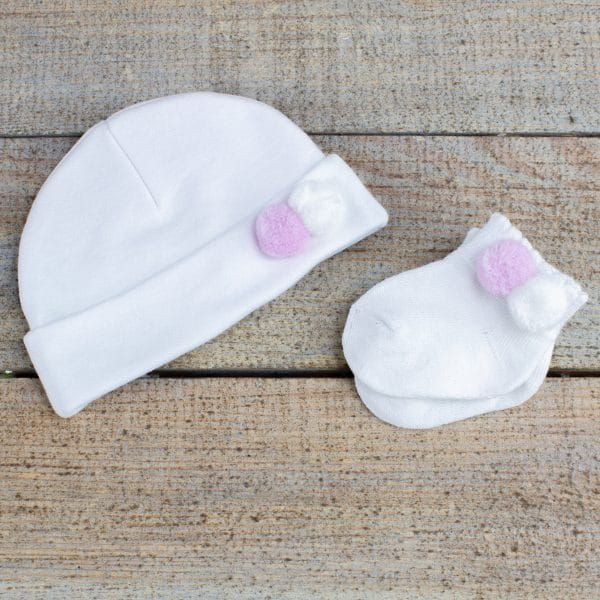 Personalised Pink Baby Girl GIft hamper - hat & socks