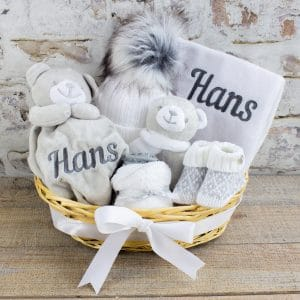 Personalised Grey & white Baby hamper gift set