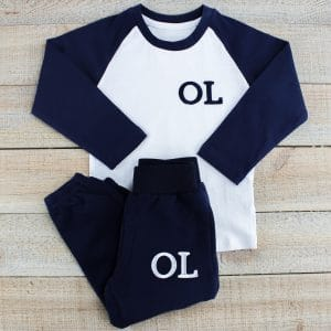 Personalised Navy & White Baby Loungewear