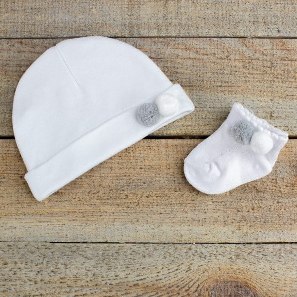 Personalised White Bunny Rabbit Baby Hamper - Hat & Socks