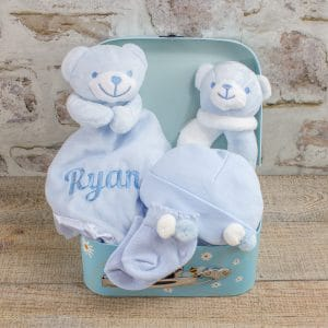 Personalised Blue Teddy Bear Baby Gift Box