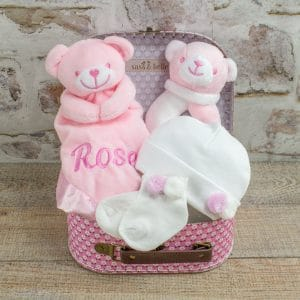 Personalised Pink Teddy Bear Baby Gift Box