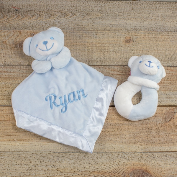 Personalised Baby Boy Teddy Bear Comforter & Rattle