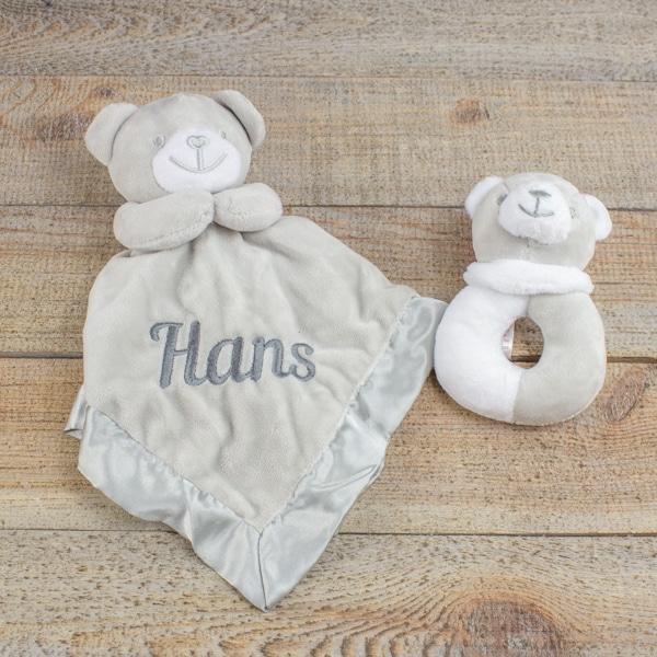 Personalised Grey Teddy Bear Comforter & Rattle