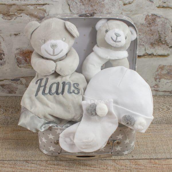 Personalised Grey Teddy Bear Baby Gift Box