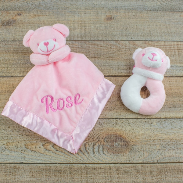 Personalised Baby Girl Teddy Bear Comforter & Rattle