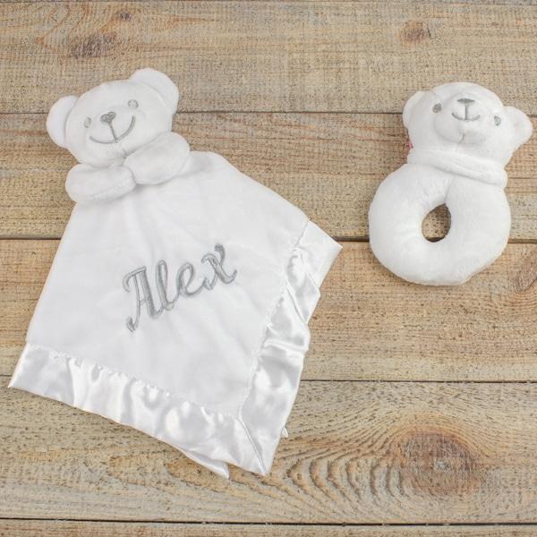 Personalised Unisex Teddy Bear Comforter & Rattle
