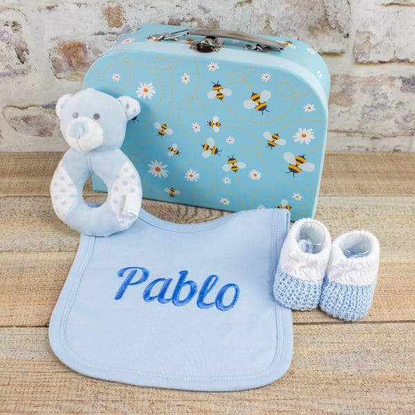 Personalised Blue Baby Gift Box Accessories