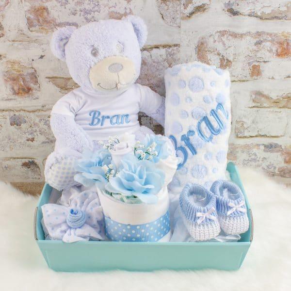 Personalised Baby Boy Gift Hamper - Teddy Bear & Blanket