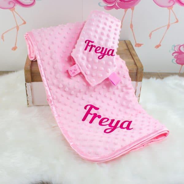 Personalised Pink Baby Blanket & Comforter Gift Set