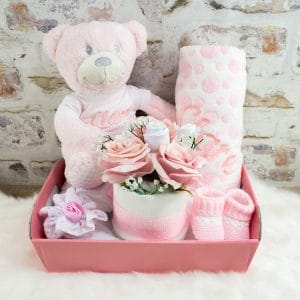 Personalised Baby Girl Gift Hamper - Teddy Bear & Blanket