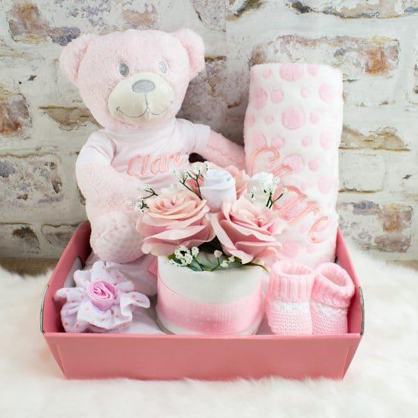 Personalised Baby Girl Gift Hamper - Teddy Bear & Blanket