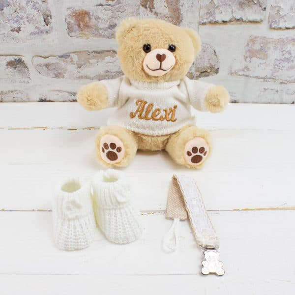 Personalised Gold Baby Gift Hamper - Personalised Teddy Bear