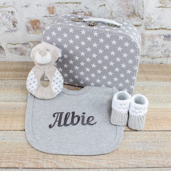 Personalised Grey Baby Starter Gift Box - Accessories