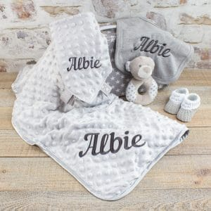 Personalised Unisex Grey Baby GIft Box