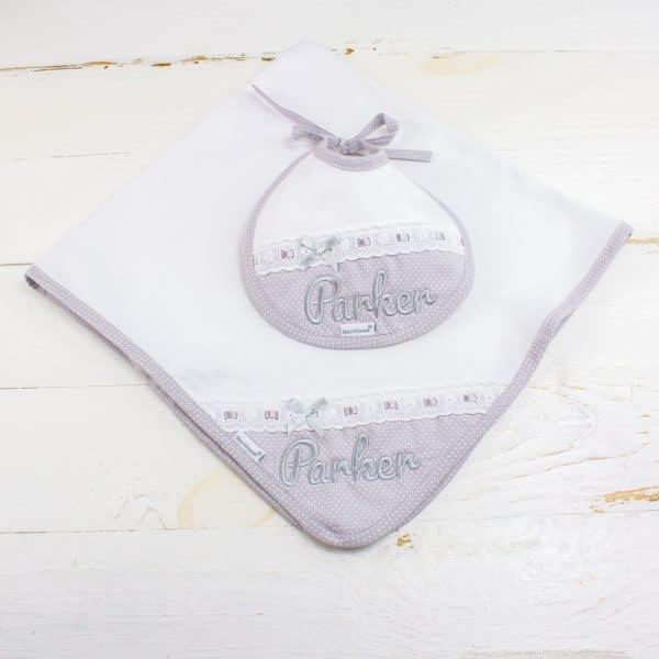 Personalised Grey Baby Gift Hamper - Personalised Blanket & Bib