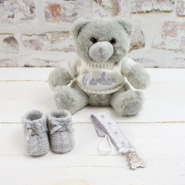 Personalised Grey baby gift hamper - Personalised Teddy bear