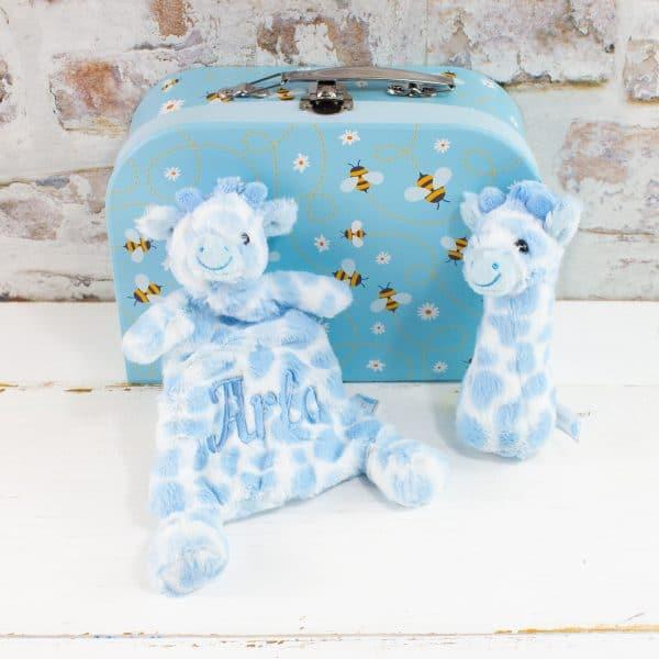 Personalised Baby Boy Blue Gift Hamper - Comforter & Rattle