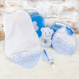 Personalised Baby Boy Blanket & Bib Gift Set