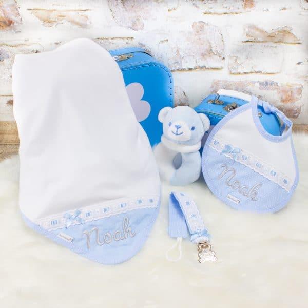 Personalised Baby Boy Blanket & Bib Gift Set