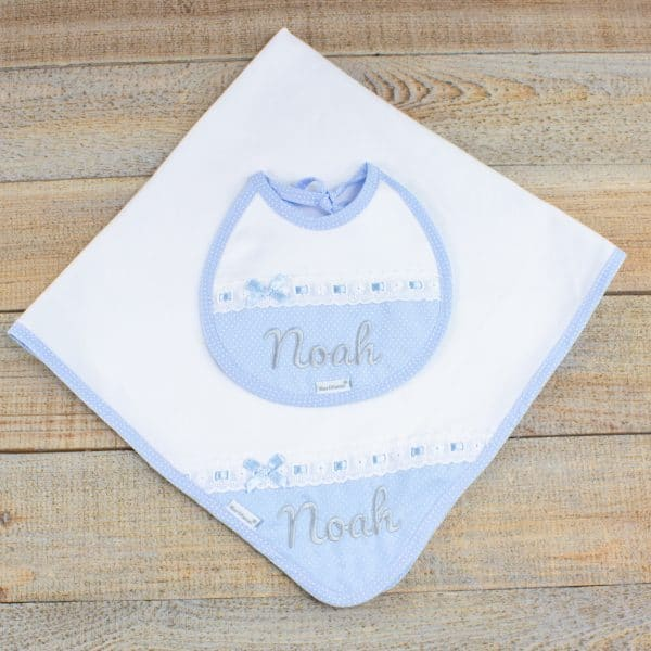 Personalised Baby Boy Blanket & Bib Gift Hamper