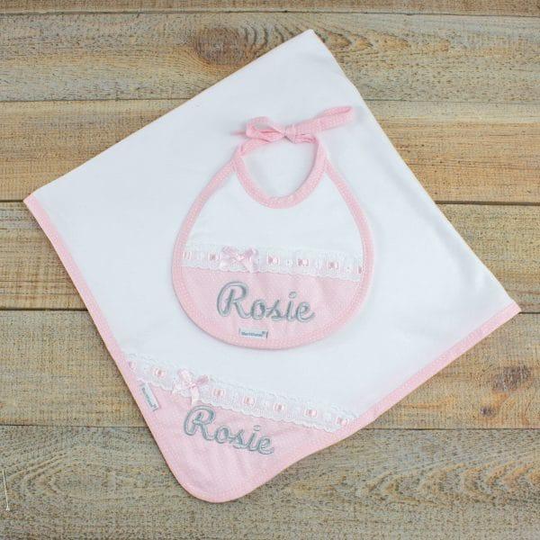 Personalised Baby Girl Gift Hamper- Personalised Blanket & Bib
