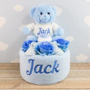 Personalised Blue Baby Boy Nappy Cake