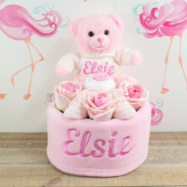 Personalised Baby Girl Nappy Cake - Teddy Bear