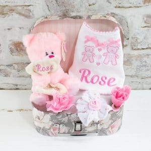 Personalised Baby Girl Gift Set - Bear & Bib