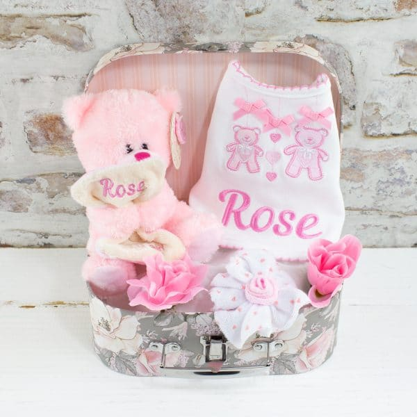Personalised Baby Girl Gift Set - Bear & Bib