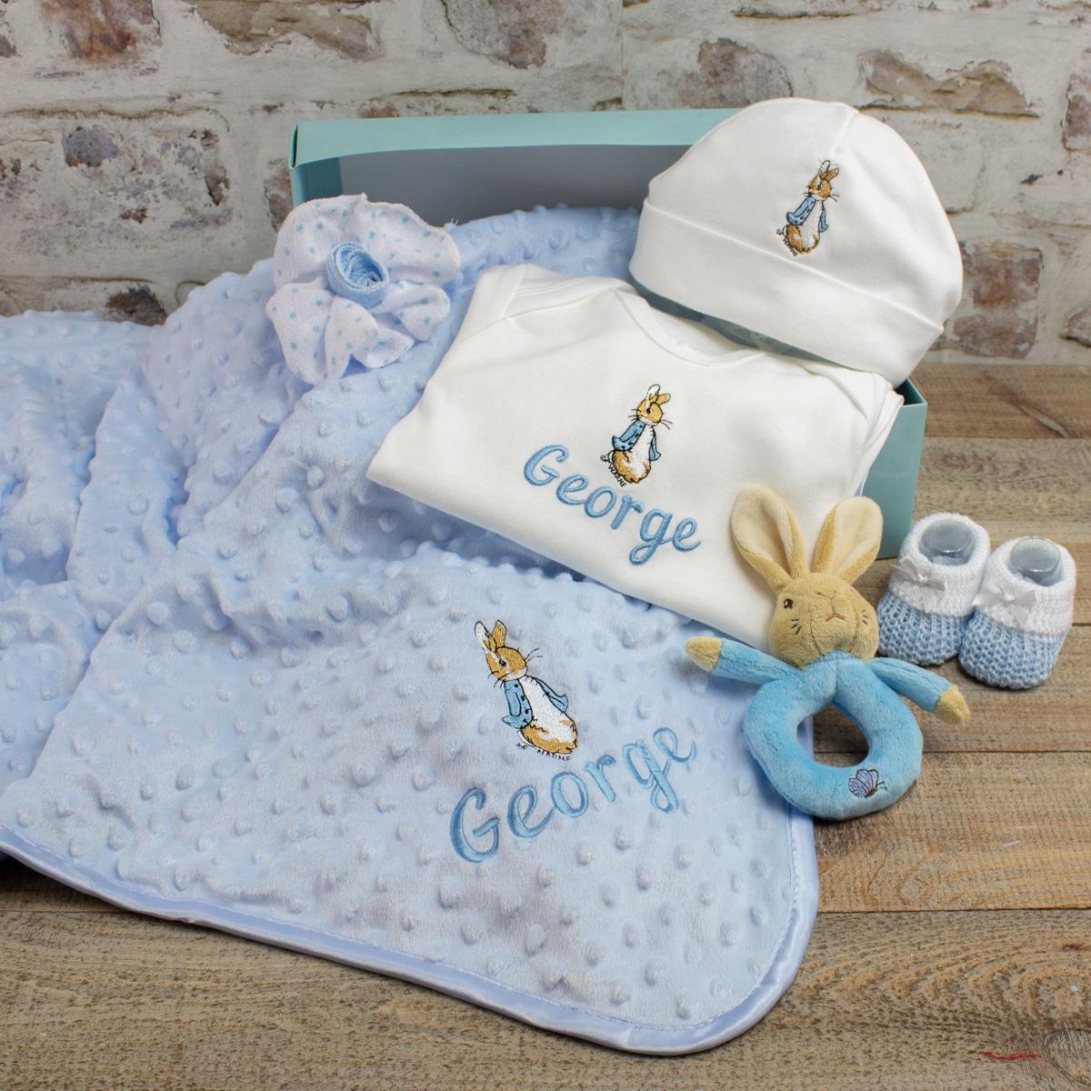 Personalised Baby Boy Peter Rabbit Gift Set