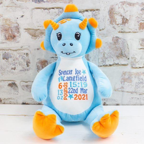 Personalised Baby Boy Blue Dinosaur Toy