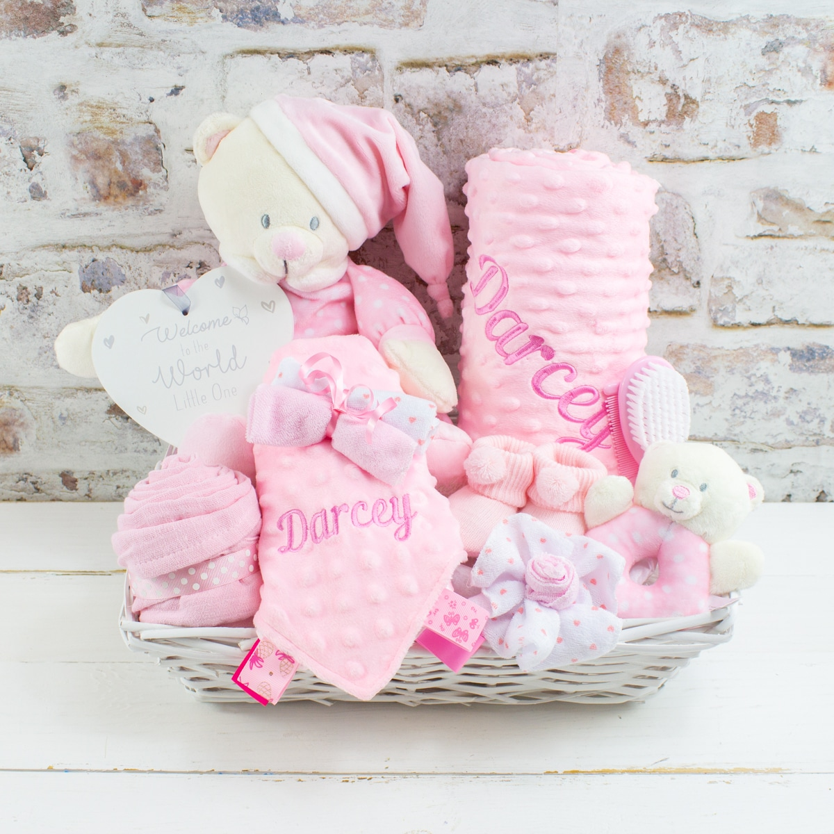 Personalised Pink Baby Girl Gift Hamper