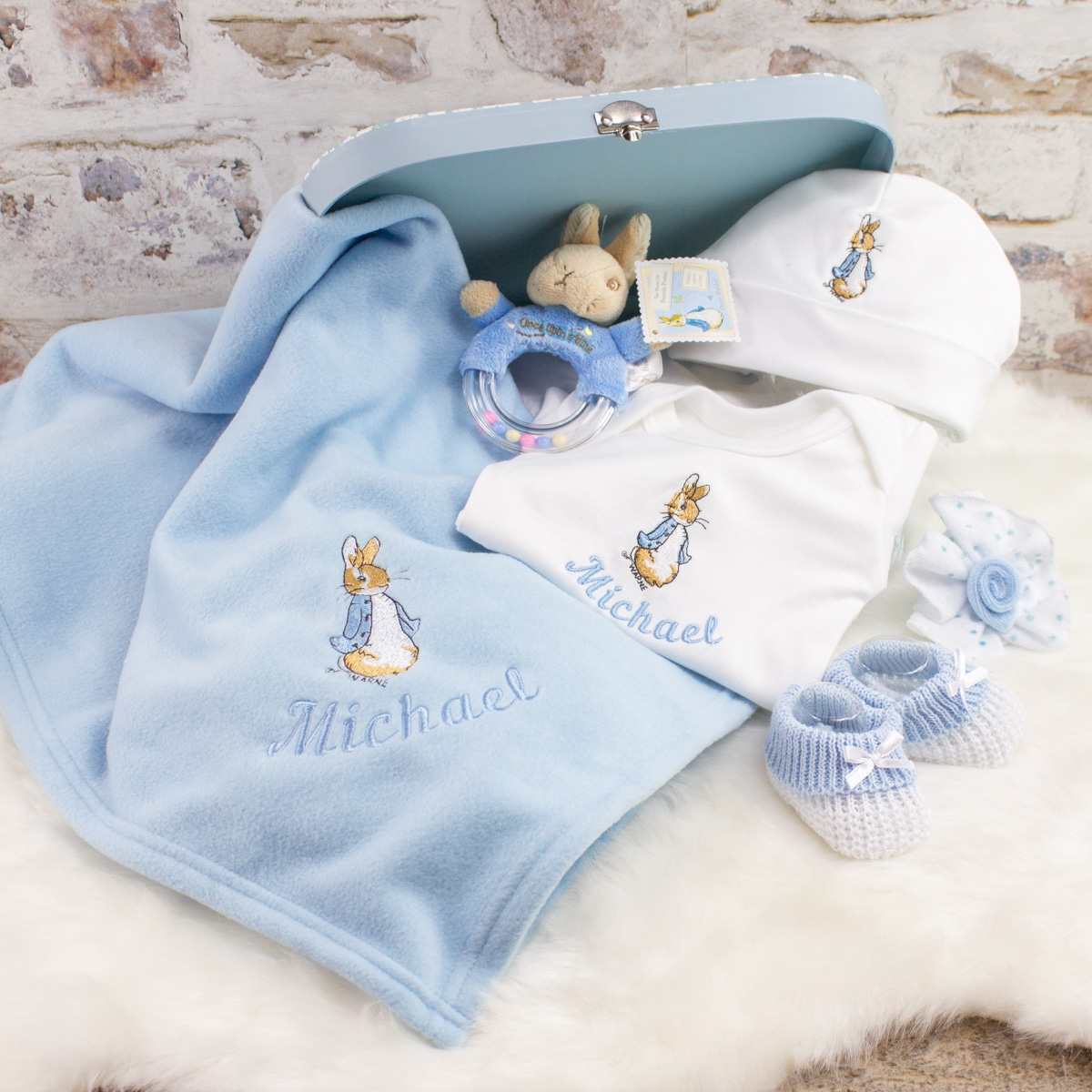 Personalised Baby Boy Peter Rabbit Gift Set