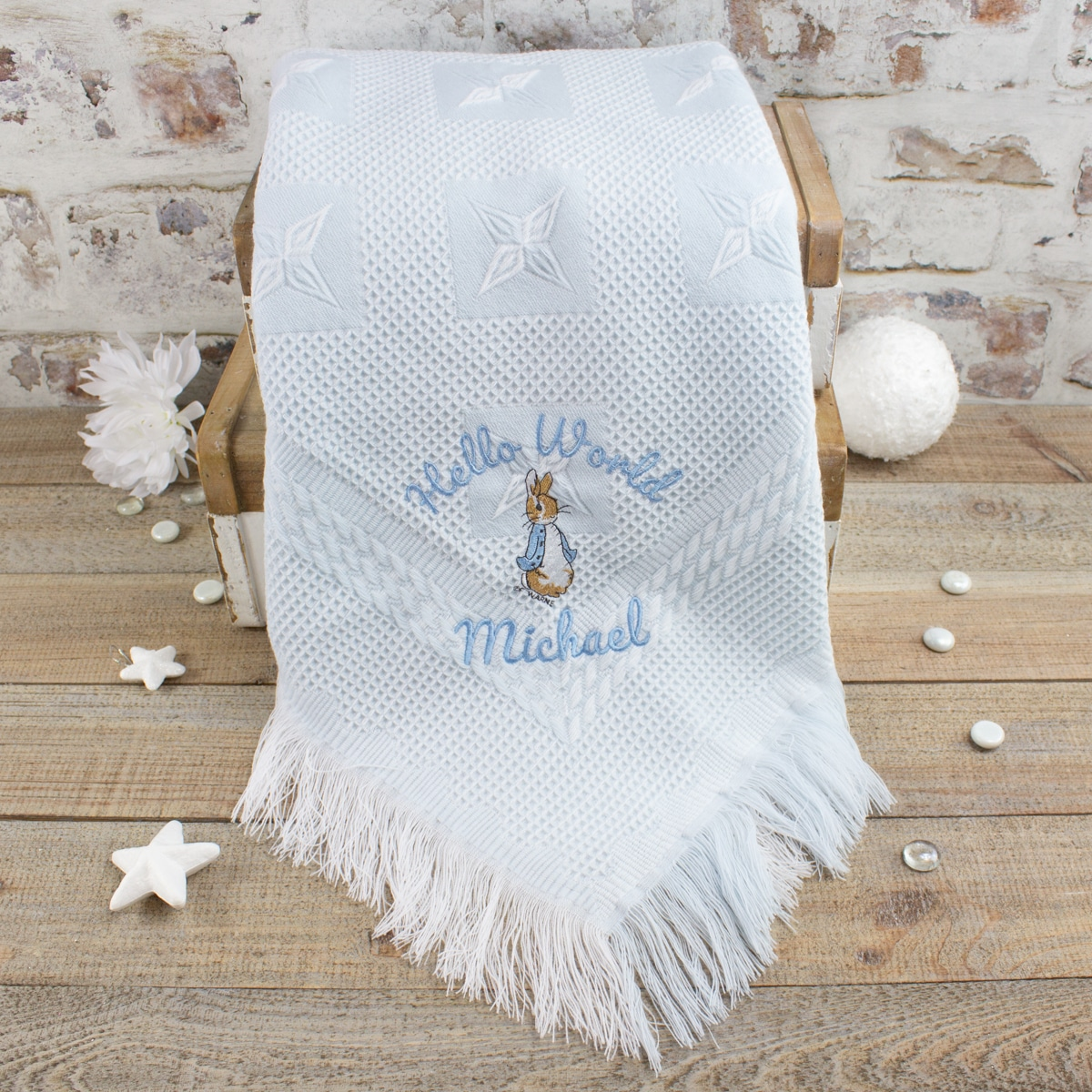 Personalised Blue Peter Rabbit Baby Blanket